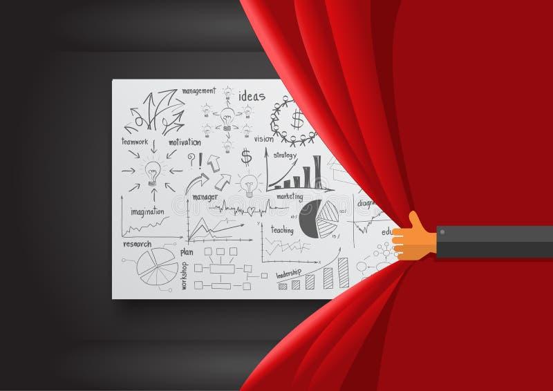 Vektorhand som öppnar den röda gardinen med teckningsaffärsframgång stock illustrationer