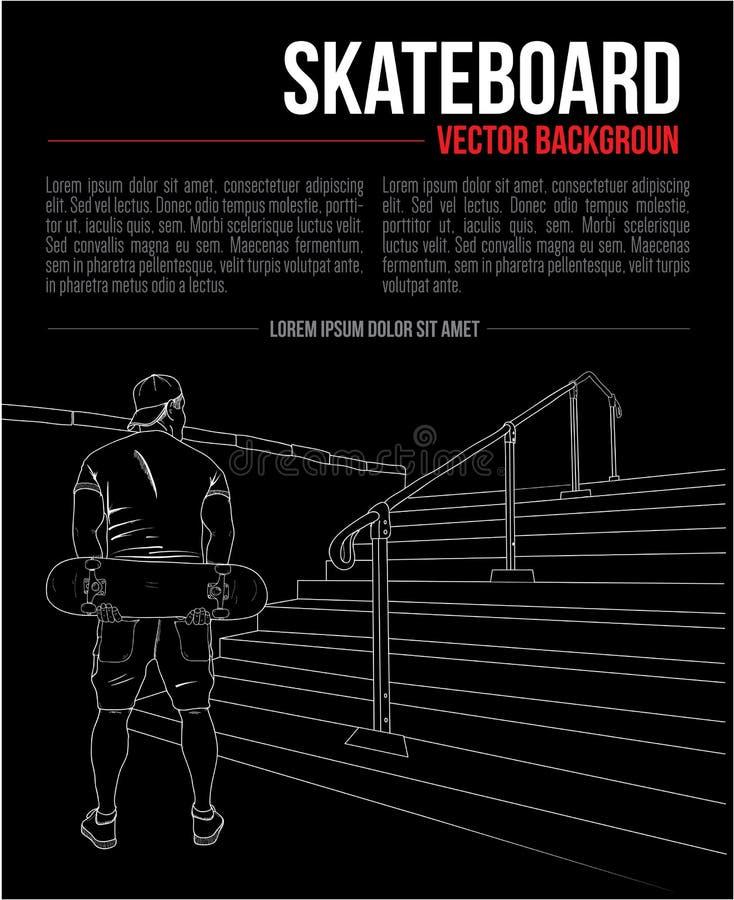 Vektorhand som drar bakgrund med skateboarderen och trappa fotografering för bildbyråer