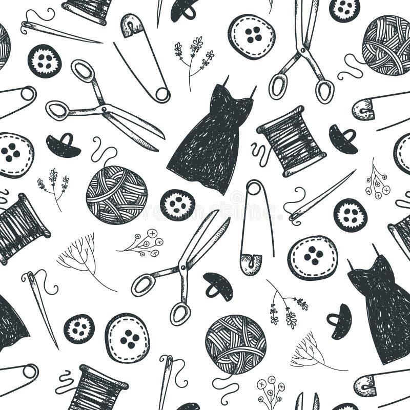 Vektorhand som dras för att klottra den sömlösa modellen svart white Mode som syr hjälpmedelbakgrund Använd för babric, tryck stock illustrationer