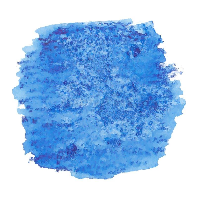 Vektorhanden målade vattenfärgmålning - djupblå kulör fläck för jeansgrov bomullstvill som isolerades på vit bakgrund stock illustrationer