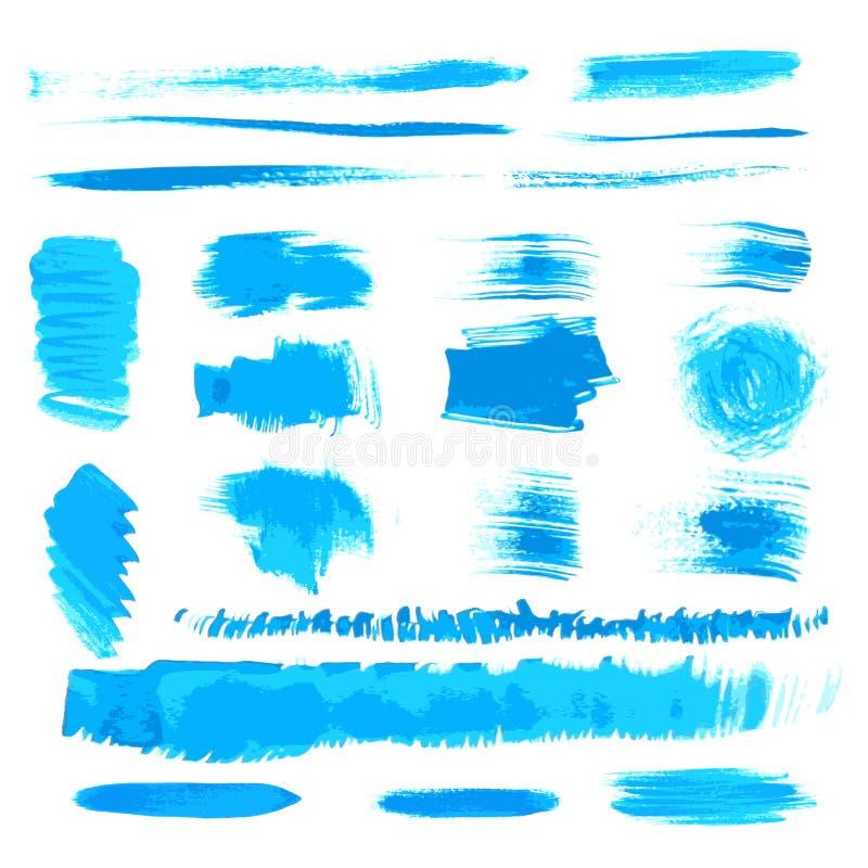 Vektorhandgemachte blaue Anschläge stellten gemalt durch Pinsel ein lizenzfreie abbildung