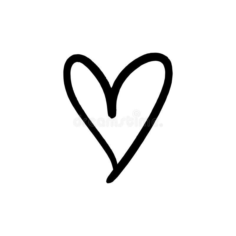 Vektorhandgezogene einfache nette Herzillustration vektor abbildung