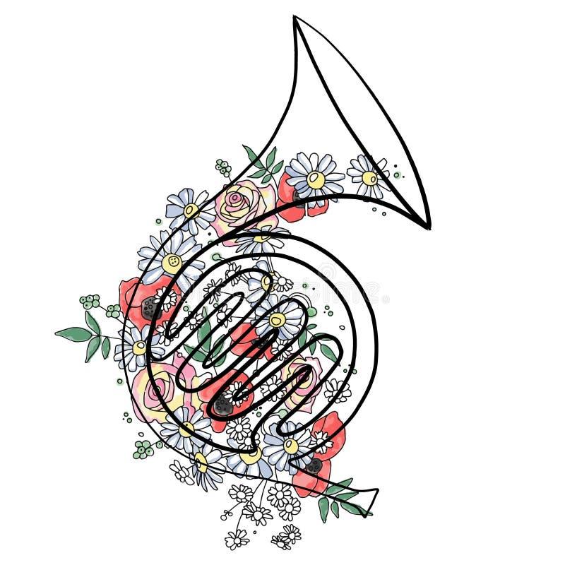 Vektorhandgezogene grafische Illustration des französischen Horns mit Blumen, Blätter skizzieren Zeichnung, Gekritzelart Künstler vektor abbildung