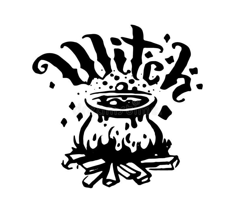 Vektorhandgezogene Hexe und magisches Einzelteilgebräu in der Kesselillustration auf weißem Hintergrund stock abbildung