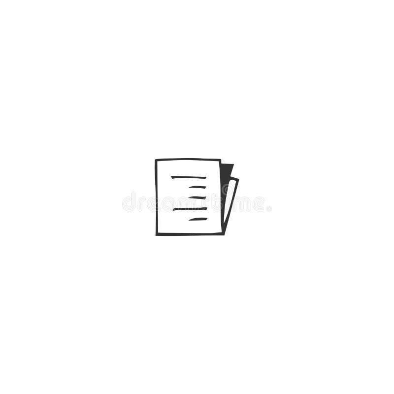 Vektorhandgezogene Ikone, ein schriftliches Papier Veröffentlichen, Schreibens- und Copyrightthema vektor abbildung
