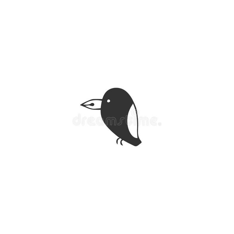 Vektorhandgezogene Ikone, ein Vogel mit einem Stiftspitzenschnabel Schreiben, Veröffentlichen und Copywritingthema stock abbildung