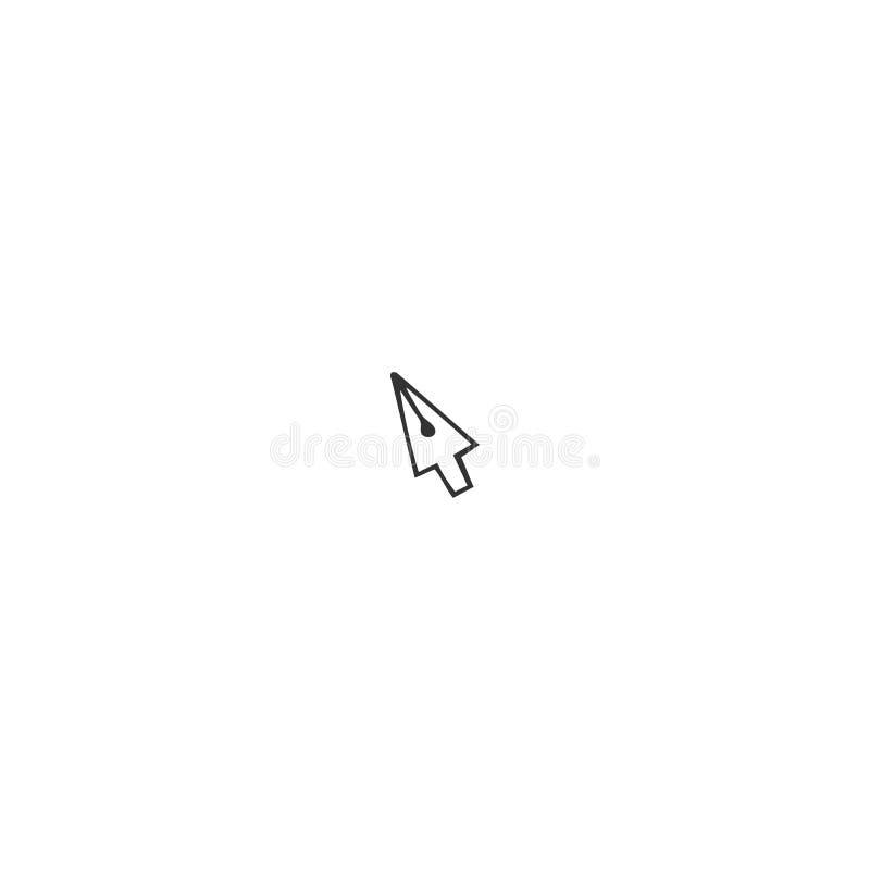 Vektorhandgezogene Ikone, eine Stiftspitze in Form eines Cursor-Mauszeigers Schreiben, Copyright und Verlags- Thema vektor abbildung