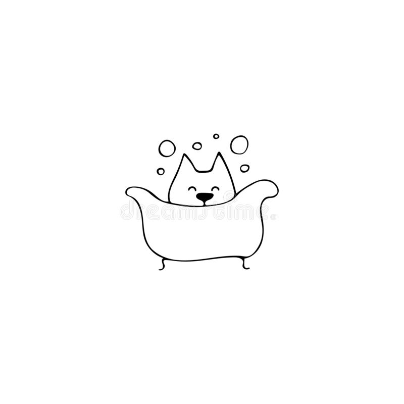 Vektorhandgezogene Ikone, Hund in der Badewanne Logoelement für in Verbindung stehendes Geschäft der Haustiere stock abbildung