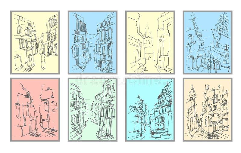 Vektorhandgezogene Illustration des alten Straßenansichtschattenbildes auf Farbhintergrund stock abbildung