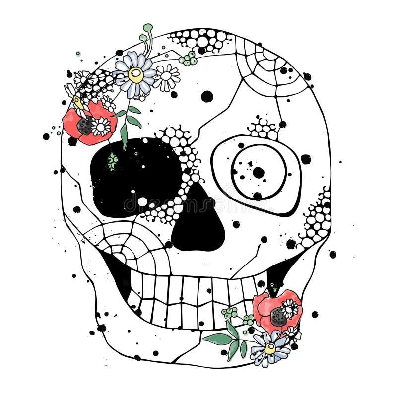 Vektorhandgezogene Illustration des lächelnden Schädels mit Aquarellblumen, Spinnennetz, Zahn, Gesicht der menschlichen Druckgrau stock abbildung