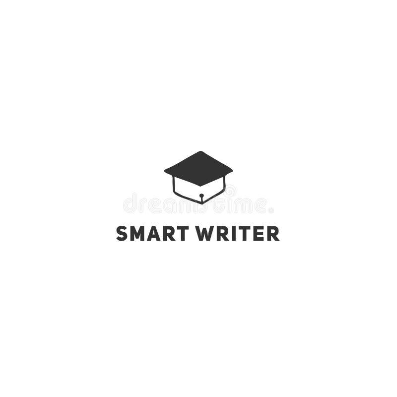 Vektorhandgezogene Logoschablone, ein Hochschule für Aufbaustudien-Hut mit einer Stiftspitze Schreiben, Copyright und Verlags- Th lizenzfreie abbildung