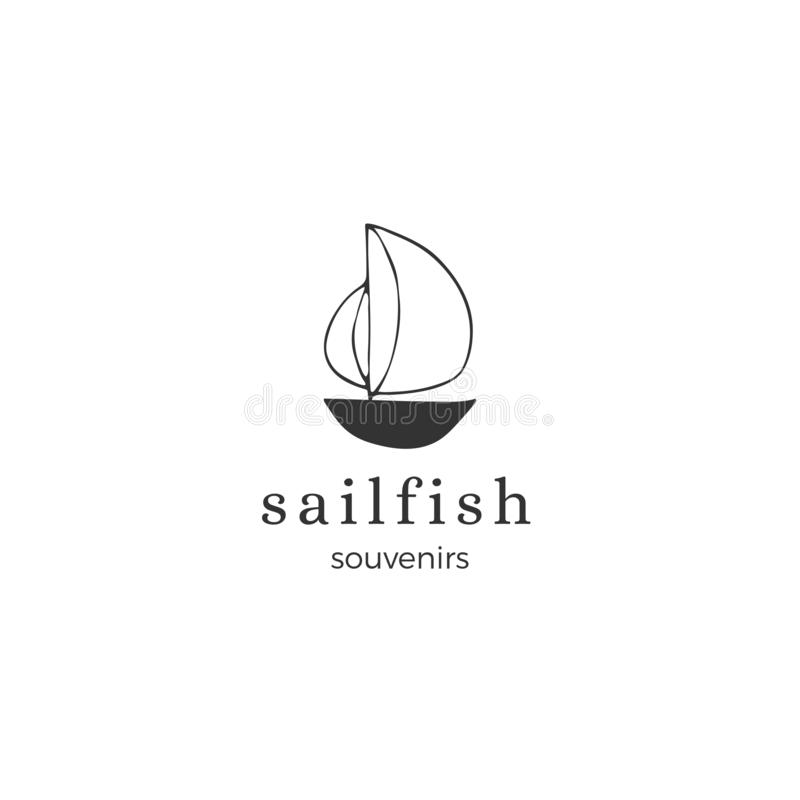 Vektorhandgezogene Logoschablone, ein Segelschiff lizenzfreie abbildung