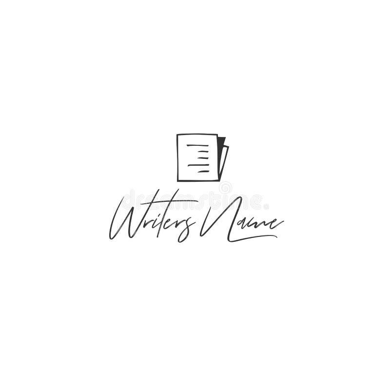 Vektorhandgezogene Logoschablone mit einem schriftlichen Papier Veröffentlichen, Schreibens- und Copyrightthema stock abbildung