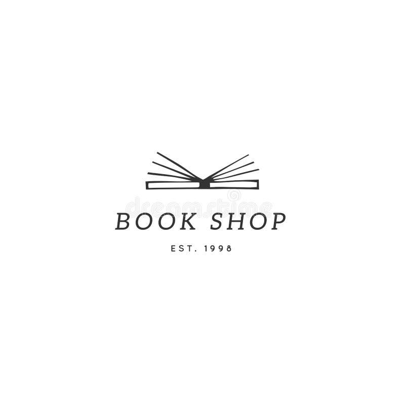 Vektorhandgezogene Logoschablone, offenes Buch Veröffentlichen, Schreibens- und Copyrightthema stock abbildung