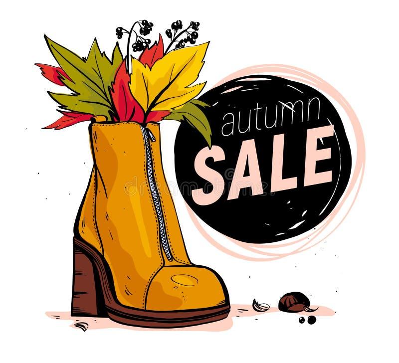 Vektorhandgezogene modische Modeillustration mit dem weiblichen Schuh des Verkaufsthemas und -herbstes/-frühlinges lokalisiert au lizenzfreie abbildung