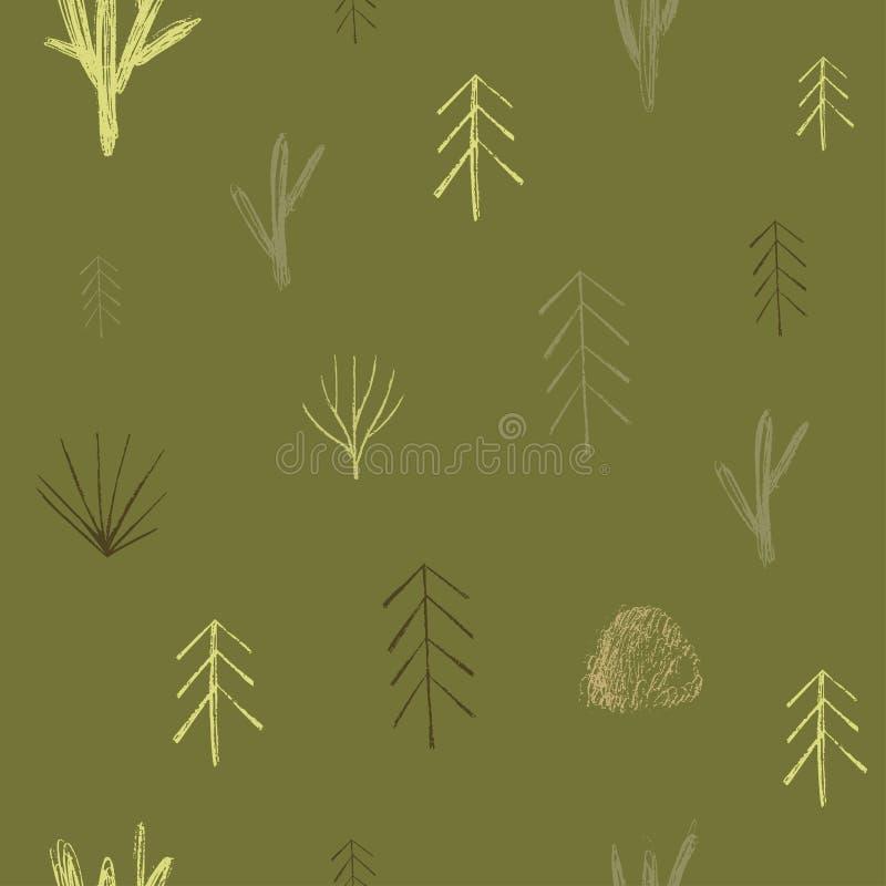 Vektorhandgezogenes Element Unterschiedliche Bäume und Tanne Element des nahtlosen Musters Papierdesign vektor abbildung