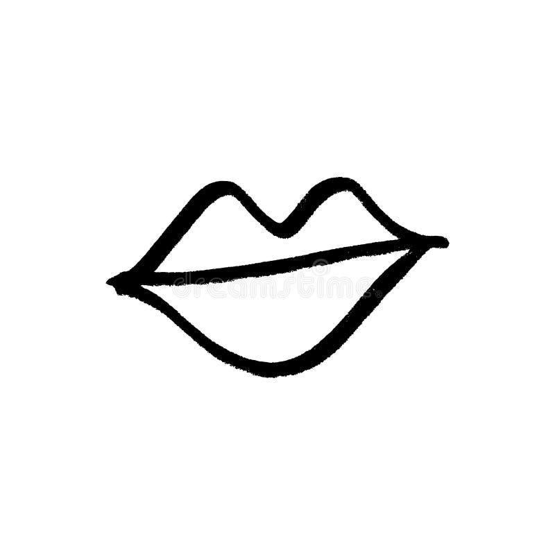 Vektorhandgezogenes Lippensymbol, -logo oder -aufkleber, -druck für Kleidung und andere, -element für Entwurf und -anderes stock abbildung