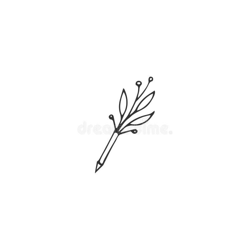 Vektorhandgezogenes Logoelement, eine blühende Stiftikone Copywriting-, Schreiben und Veröffentlichenthema stock abbildung