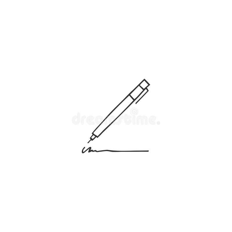 Vektorhandgezogenes Logoelement, eine Stiftikone Schreiben, Copyright und Verlags- Thema stock abbildung