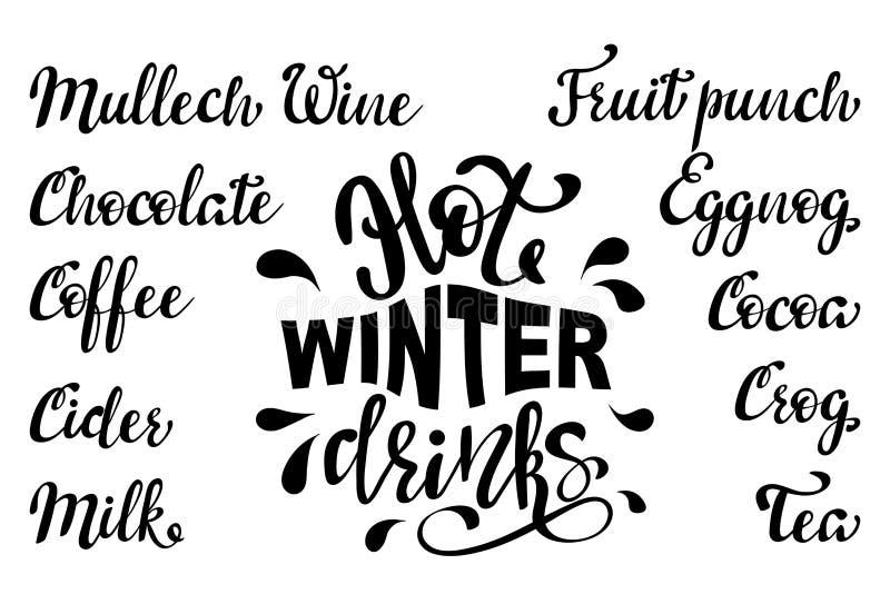 Vektorhandgezogenes Weinleseplakat mit Kalligraphiebeschriftung und Namen von heißen Wintergetränken stock abbildung