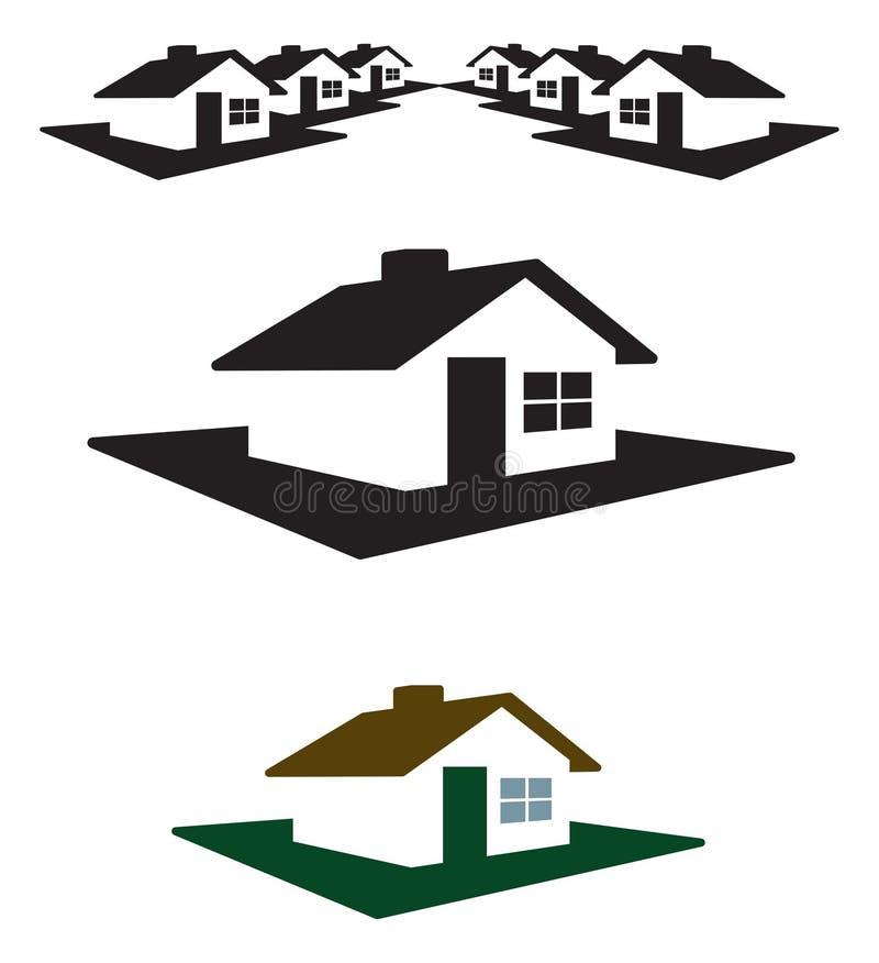 Vektorhaus-Zeichen und Vorsatz vektor abbildung