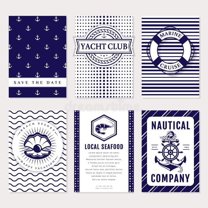 Vektorhav och nautiskt kort och baner royaltyfri illustrationer