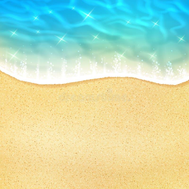 Vektorhavsstrand eller havkustsand och vågor vektor illustrationer