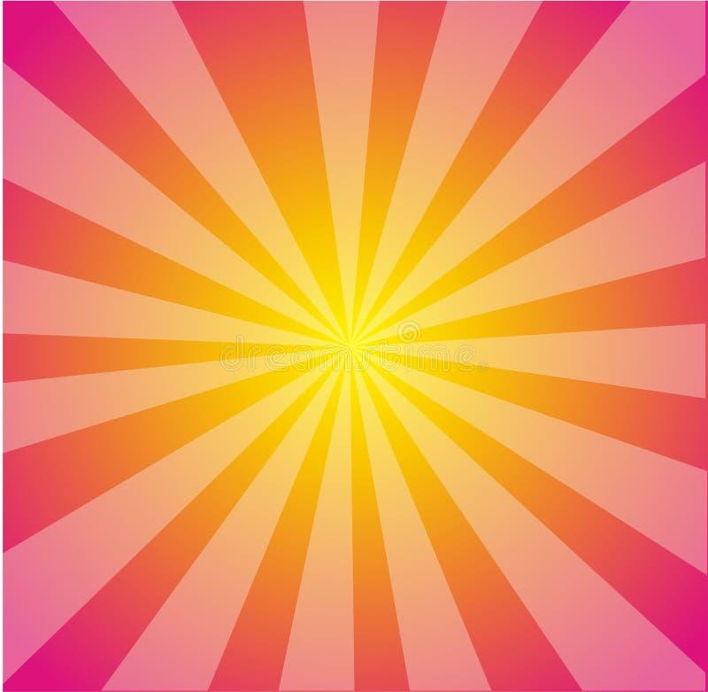 Vektorheißes Rosa-Gelb Starburst Hintergrund stock abbildung