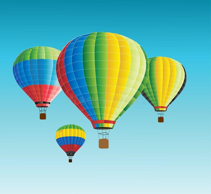 Heißluftballone des Vektors im Himmel vektor abbildung