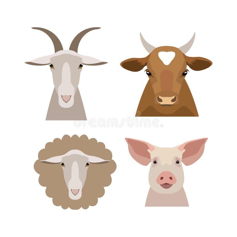 Vektorhemhjälp, head samling för lantgårddjur i lägenheten, tecknad filmstil royaltyfri illustrationer