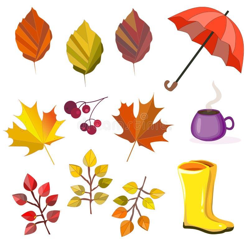 Vektorherbst, Herbstkollektion, Satz Laub, Blätter, Regenschirm, Stiefel, Beeren, Kaffee Autumn Colors Große Sammlung für Ihren E lizenzfreie abbildung