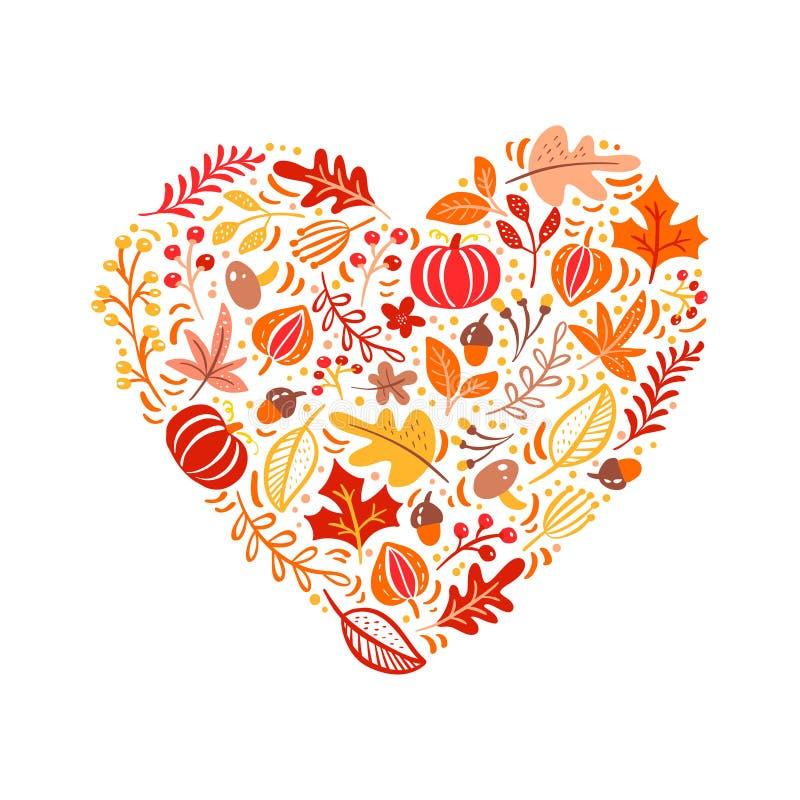 Vektorherbstelemente gemacht in der Herzliebe Pilz, Eichel, Ahornblätter und Kürbis lokalisiert auf weißem Hintergrund lizenzfreie abbildung