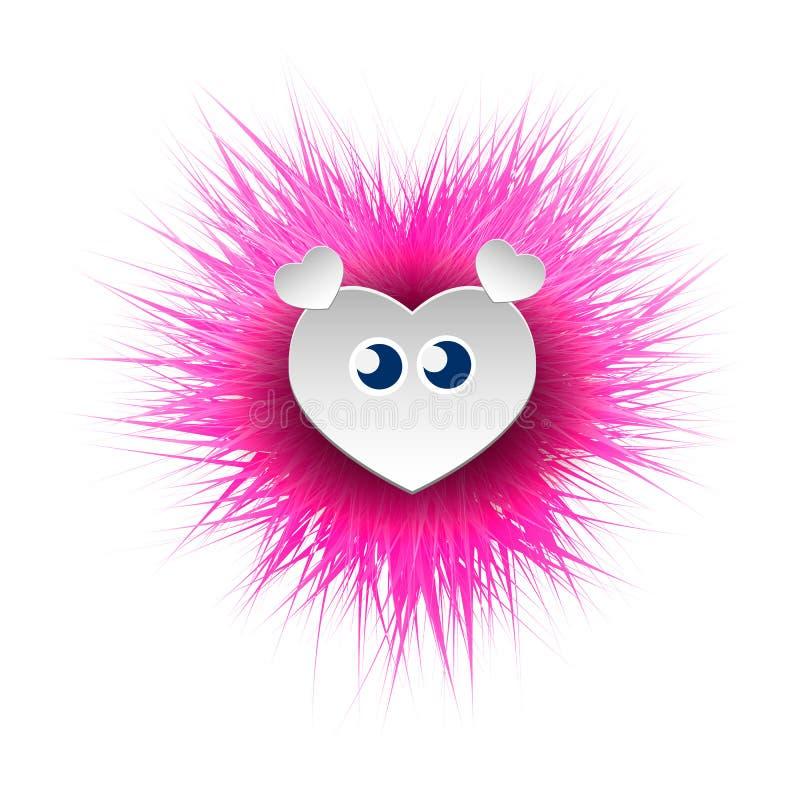 Vektorherz, weich und flaumig Spielzeug der Kind s in Form eines rosa Herzens Ein Geschenk für Tag des Valentinsgruß-s stock abbildung