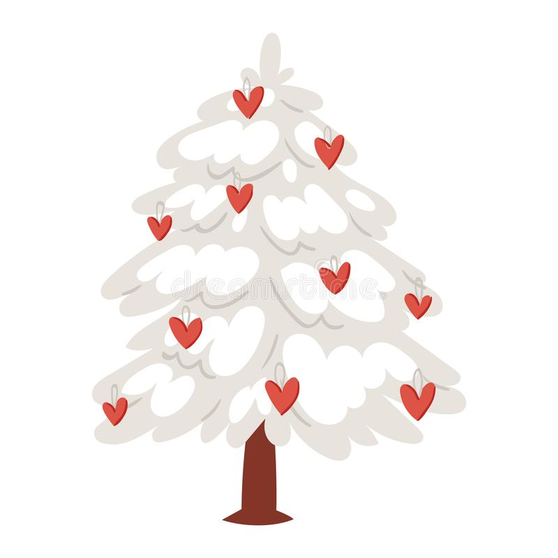 Vektorherzikonenverzierungssternweihnachtsgeschenkdesignfeiertag Valentinstag-Feierwinter des Liebesbaum Weihnachtsneuen Jahres vektor abbildung