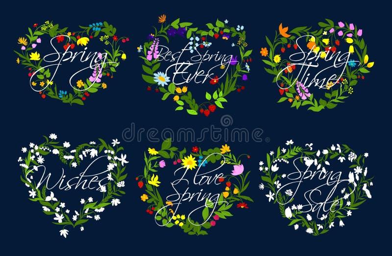 Vektorherzkranz von Blumen für Frühlingszeit vektor abbildung