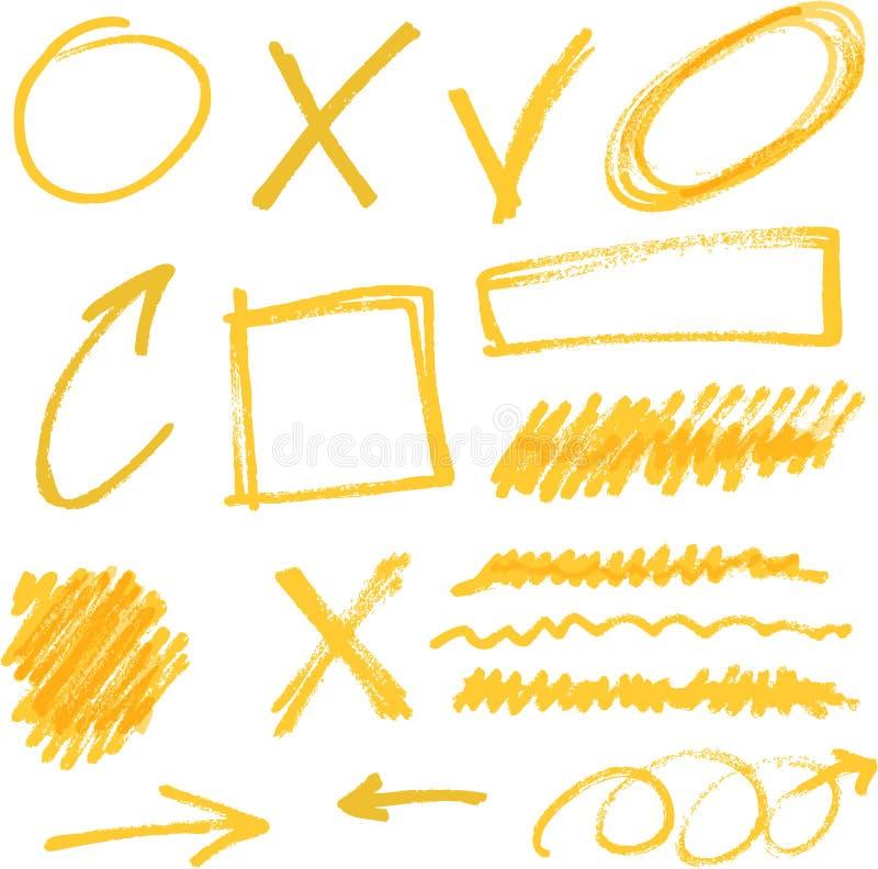 Vektorhighlighterbeståndsdelar vektor illustrationer