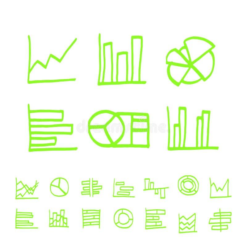 Vektorhighlighterbeståndsdelar - hand dragen uppsättning av diagramsymboler vektor illustrationer