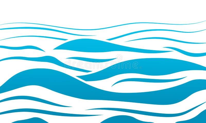 Vektorhintergrund der Meereswellen des blauen Wassers abstrakter Wasserwellen-Kurvenhintergrund, Linie Ozeanfahnenillustration fü stock abbildung