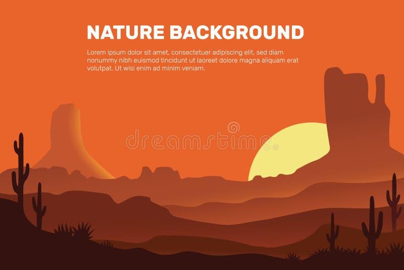 Vektorhintergrund der Wüste, der Sonne, dem Sand, den Bergen und aus dem Kaktus bestehend lizenzfreie abbildung