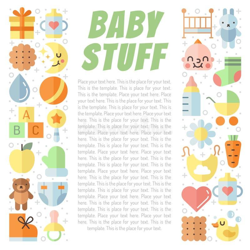 Vektorhintergrund des Materials des Babys (Mädchen und Junge) mehrfarbiger netter flach mit Platz für Ihren Text Minimalistic-Des stock abbildung
