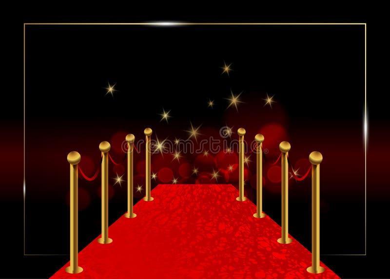 Vektorhintergrund des roten Teppichs Luxus- und elegantes des roten Teppichs Ereignis Hollywood in der Perspektivenillustration T vektor abbildung