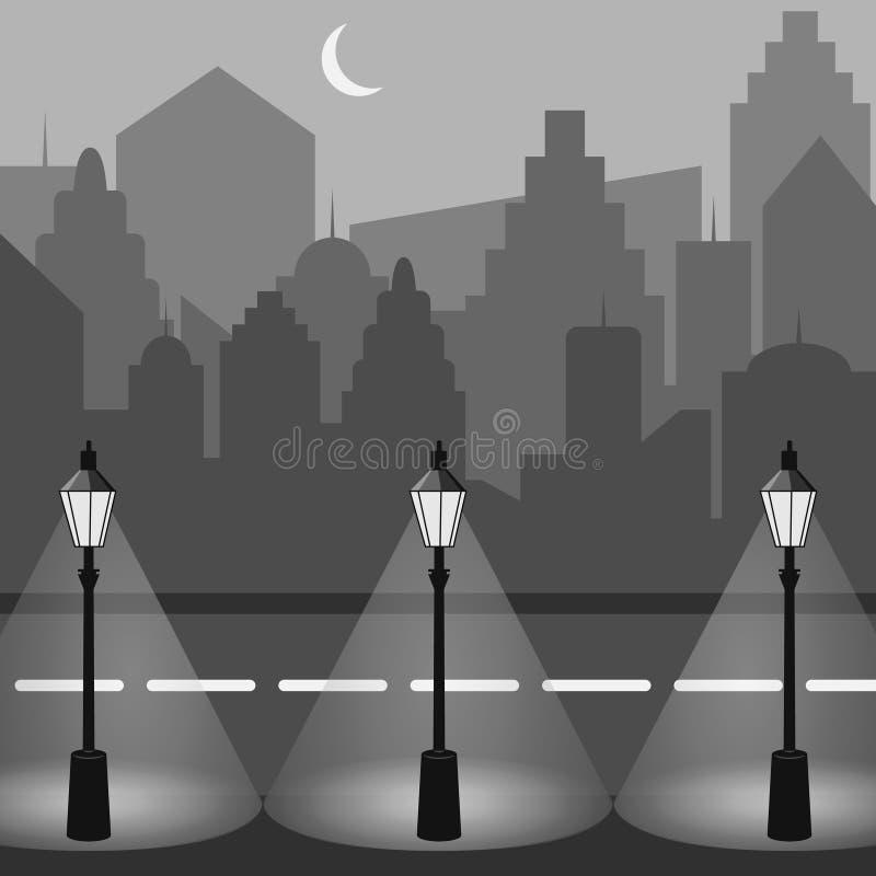 Vektorhintergrund für Ihre Auslegung Städtische Landschaft Nachtstadtschattenbild Stadtbild in der flachen Art Moderne Nachtstadt vektor abbildung