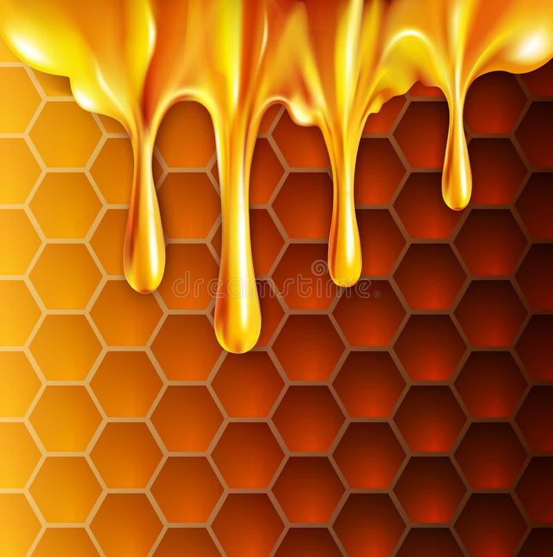Vektorhintergrund mit Bienenwaben und Honig lizenzfreie abbildung