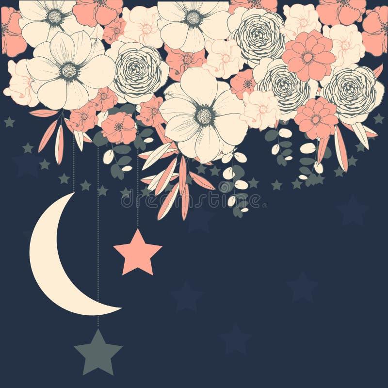 Vektorhintergrund mit Blumen und Sternen Hochzeitseinladung, GR lizenzfreie abbildung