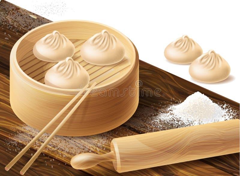 Vektorhintergrund mit chinesischen Mehlklößen stock abbildung