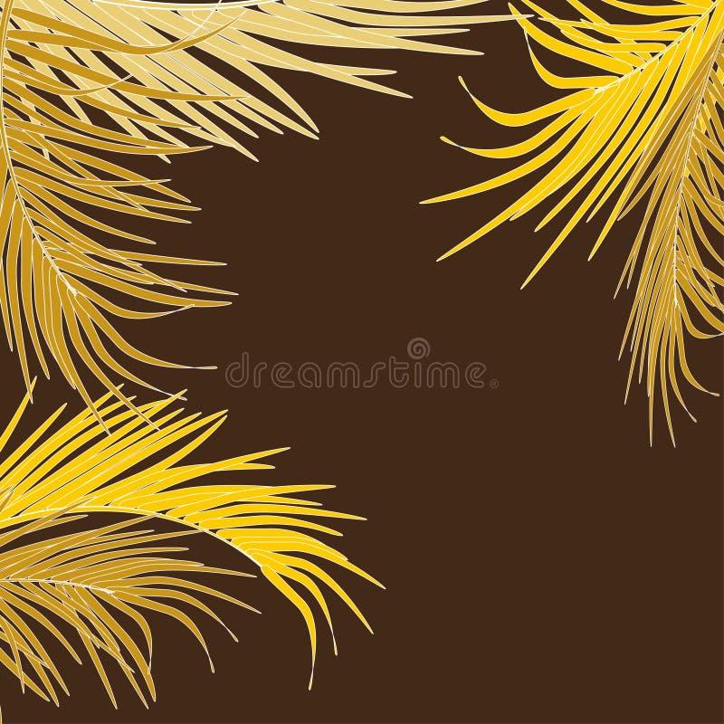 Vektorhintergrund mit dekorativen Palmblättern in den Tropen auf dunklem Hintergrund Helle moderne goldene luxuriöse Farben stock abbildung