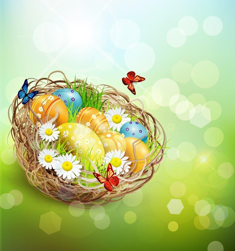 Vektorhintergrund mit Ostern-Nest und -eiern stock abbildung