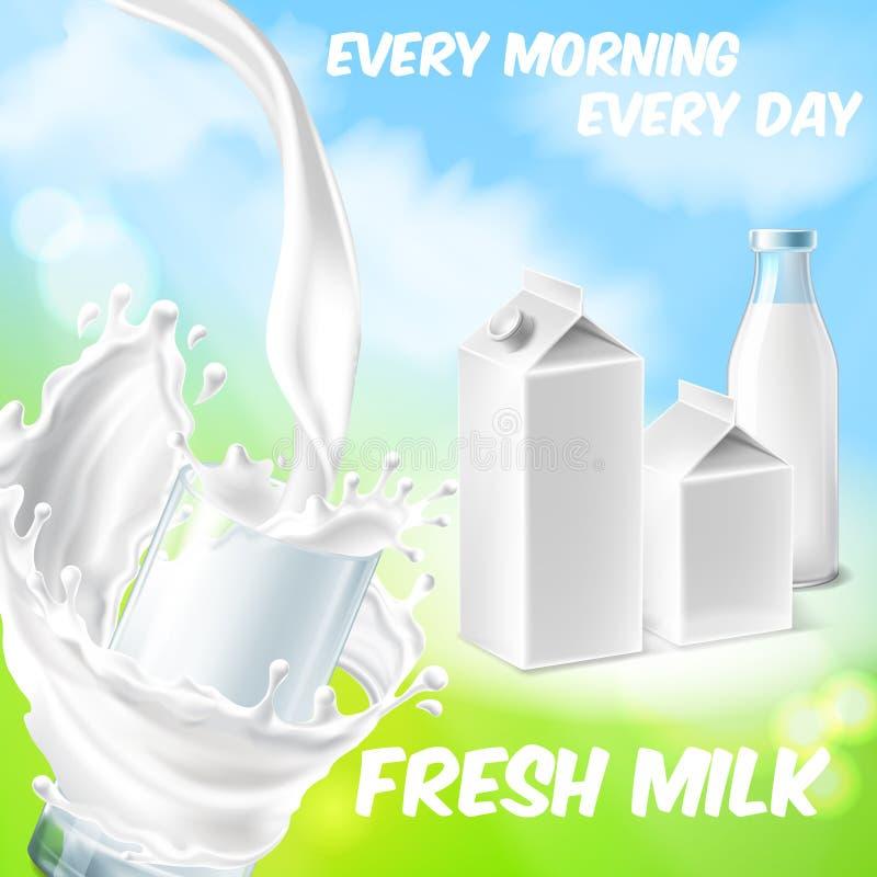 Vektorhintergrund mit Paketen stellte für frische Milch ein stock abbildung