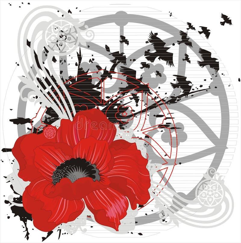 Vektorhintergrund mit roter Blume und Vögeln lizenzfreie abbildung