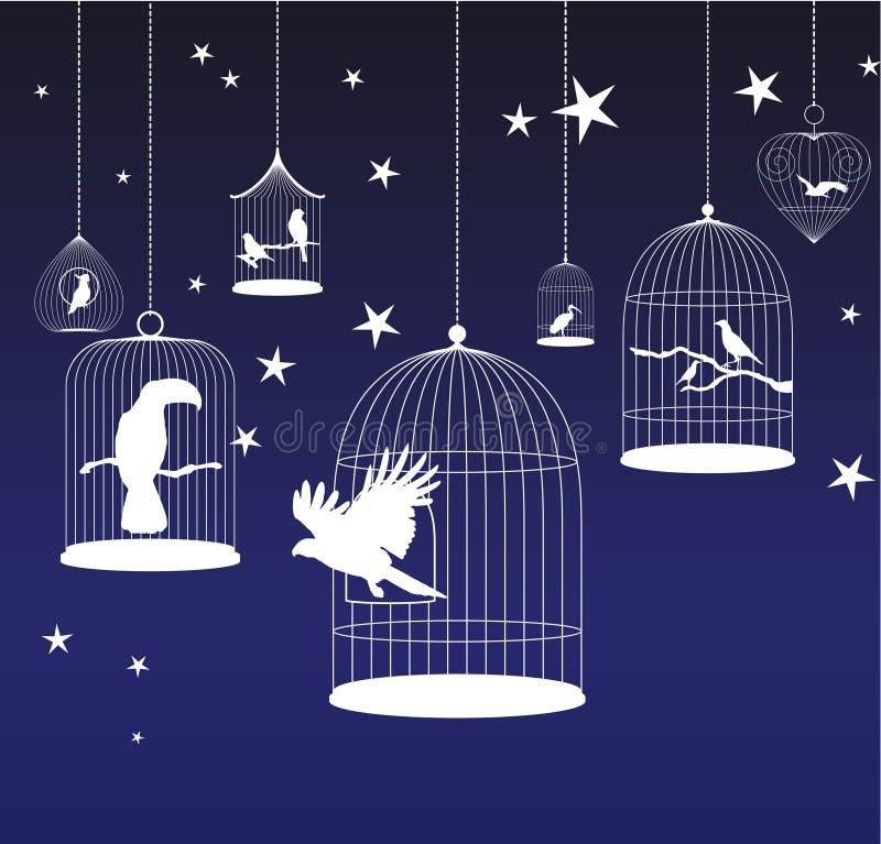 Vektorhintergrund mit Vogelkäfigen lizenzfreie abbildung